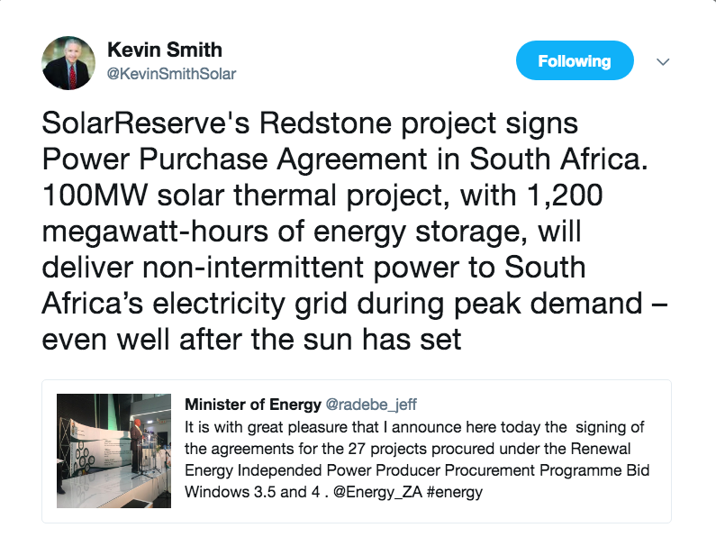 Redstone csp contract signed after 2 year delay solarpaces radebe says signing of 27 ipp agreements a new dawn for renewables in south africa platinumwayz