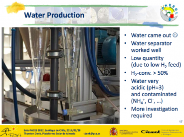 Water produced in a solar reactor for the Moon